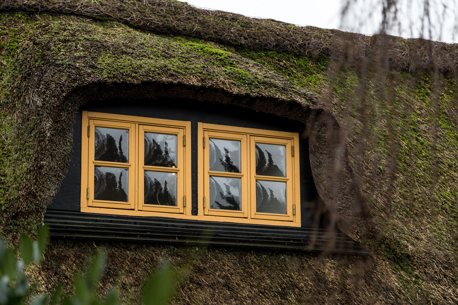 Maling af vinduesrammer på bindingsværkshus